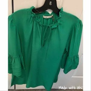 Alice + Olivia Stacey Bendet Green Silk Blouse M